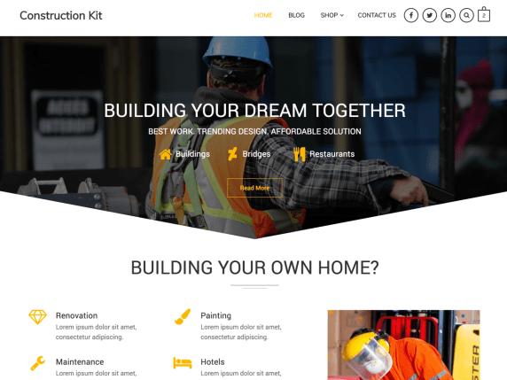 Top 12 free WordPress construction themes